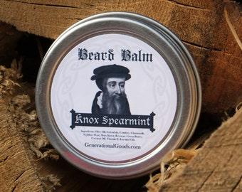John Knox Beard Balm Spearmint Essential Oil Reformer Biblical Beard Balms Theologian Series One Ounce Screw Top Tin
