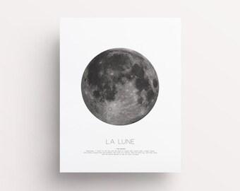 La Lune Print, Moon Print, La Luna, Moon Poster, Full Moon Print, Moon Quotes, Moon Wall Art, Affiche Scandinave, Printable Moon Poster,
