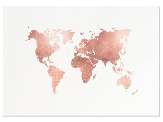 Modern Map Of The World.Rose Gold Map World Map Print Rose Gold Office Rose Gold Decor Modern Office Prints Rose Gold Wall Art Rose Gold Art Adventure Awaits