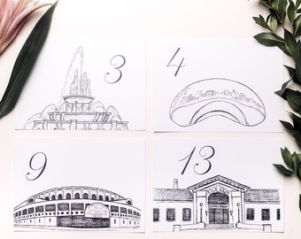 Chicago Icons Wedding Table Numbers   Chicago Wedding Theme   Chicago Landmarks, Set of 10, 15, 20, 25, or 30