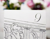 NYC New York Public Library NYPL Print or Wedding Table Number Card