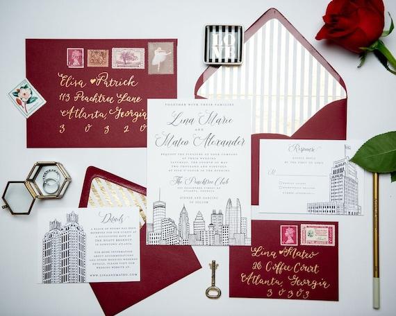 Atlanta Invite,Georgia Atlanta Wedding Sold in Sets of 10 Invitations, RSVP Cards + Envelopes Atlanta Skyline Wedding Invitation