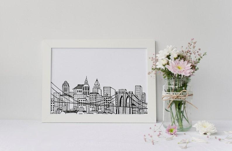 NYC Skyline Art Print Hand Drawn Design Brooklyn Bridge  1de16ce56