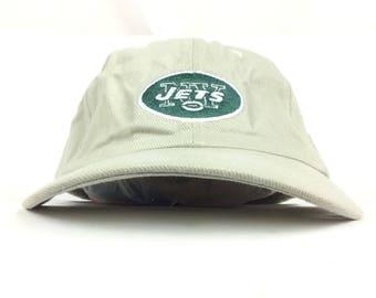 7ea211853ad Vintage 90s NFL New York Jets Tan Baseball Cap Hat Adjustable Adult Size  Cotton