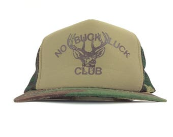 a49e91d4e87 90s NO BUCK LUCK Club Deer Antlers Logo Camo Meshback Trucker Baseball Cap  Hat Snapback Adult Size Polyester