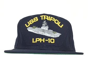 53d50b88fd3 Vintage 80s USS Tripoli LPH 10 Ship Carrier Baseball Cap Hat SnapBack Adult  Size Made in USA