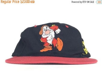 557f2e48b99 On Sale Now Vintage 90s Disney Snow White   The Seven Dwarfs Grumpy  Embroidered Baseball Cap Hat SnapBack Adult Medium Size
