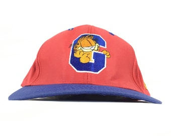 Vintage 90s GARFIELD (American Comic Strip Character Jim Davis) Embroidered  Baseball Cap Hat SnapBack Sm-Med Adult Size ad4b0154e527