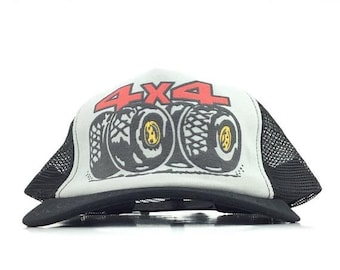 f2142fcf86a On Sale Now Vintage 80s 4x4 Monster Truck Fat Off-Road Tires Logo Black Trucker  Hat Cap Snapback Men s Size Made in The USA
