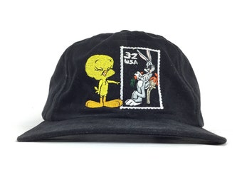 1e435755ef7b Vintage 80s Looney Tunes Bugs Bunny Tweety Bird USPS Unites States Postal  Service Embroidered Stamp Black Baseball Cap Hat SnapBack Sm-Med