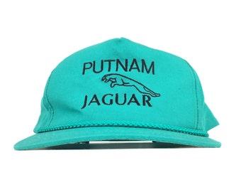 a2e6b0f79b5d4 Vintage 90s PUTNAM JAGUAR Embroidered Teal Baseball Cap Hat SnapBack Men s  Size