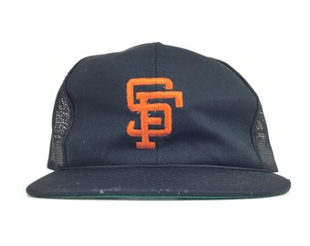 290a5e4e210eec Vintage 80s MLB SF San Francisco Giants Black Trucker Hat Baseball Cap  Snapback Adult Size Polyester