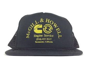 4250152562f McGill   Howell Cummins Engine Service Sacramento California Black Mesh  Trucker Hat Cap Snapback Sm-Med Polyester
