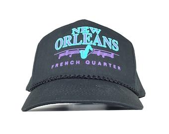 3c33d2d0a7e8c Vintage 90s New Orleans French Quarter Black Baseball Cap Hat SnapBack  Men s Size Cotton Poly Blend