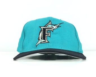 2019669f8978a Vintage 90s MLB Florida Marlins Diamond Collection New Era 5950 Baseball  Cap Hat Fitted Size 7 1 8 Wool Made In USA