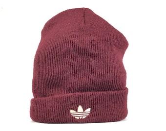 faaa8175013 Vintage 90s Adidas Trefoil Logo Burgundy Color Beanie Hat Cap Adult Size  Acrylic