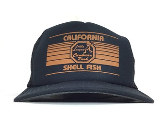 e73fdcf30f6620 Vintage 90s California Shell Fish Little League Cambrian Park Black Trucker  Hat Baseball Cap SnapBack Adult Size