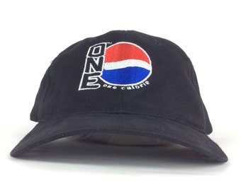 be07732241afe Pepsi ONE Calorie Embroidered Logo Black Baseball Cap Hat Adjustable  Strapback Adult Size Cotton