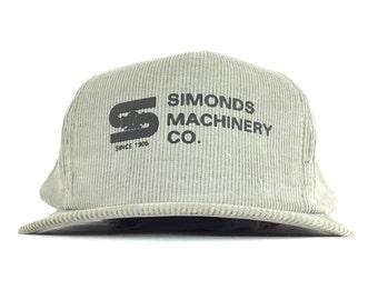 0443a54cfe7b2 Vintage 90s Simonds Machinery Since 1905 (San Francisco California) Gray  Corduroy Baseball Cap Hat SnapBack Adult Size