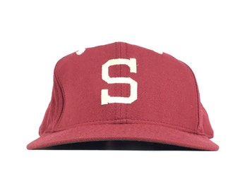 94cafa2eed2 Vintage 90s Stanford University Embroidered S Logo Cardinal Red Baseball  Cap Hat SnapbackMens Size Wool