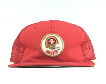 695f8a5aa Vintage 70s NFL SF San Francisco 49ers Helmet Patch Logo Red Trucker Hat  Cap Snapback Men's Size Polyester