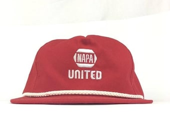 5a271a82259 On Sale Now Vinatge NAPA   UNITED Auto Parts Embroidered Red Baseball Cap  Hat Snapback Adult Size Made in USA
