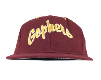 hot sale online 282f2 1aca7 Vintage 90s NCAA Minnesota Golden Gophers Embroidered Baseball Cap Hat  Fitted Size 7 3 8 Pro Model Made in USA