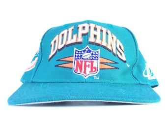 b6aa2d116 Vintage 90s NFL Miami Dolphins Logo Athletic Diamond Teal Baseball Cap Hat  Snapback Adult Size