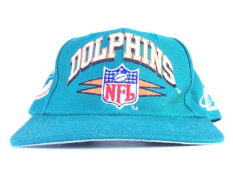 Vintage 90s NFL Miami Dolphins Logo Athletic Diamond Teal Baseball Cap Hat  Snapback Adult Size bb5924354