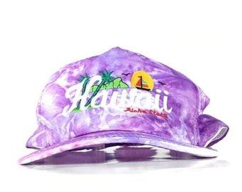 4c330452d0b127 On Sale Now Vintage 90s Hawaii Aloha State Embroidered Diamond Head Logo  Marble Pattern Baseball Cap Hat SnapBack Men's Size Nylon