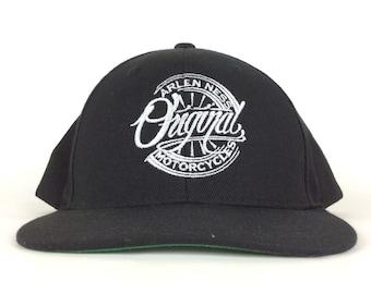 94c65b9ea46 Arlen Ness Original Custom Motorcycles Logo Black Baseaball Cap Hat  Snapback Sm-Med Size Acrylic Wool