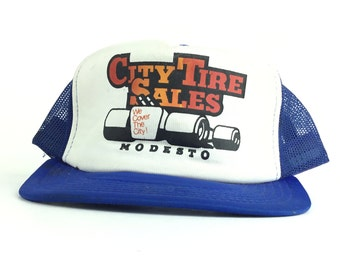 7de70639146 Vintage 90s City Tire Sales - We Cover The City (Modesto California)  Trucker Hat Cap Snapback Men s