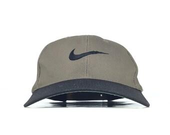 e5a15809f87e8 Vintage 90s Nike Embroidered Swoosh Logo Baseball Cap Hat SnapBack Men s  Size Cotton