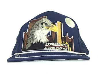d70e17876de Vintage 90s United States Postal Service USPS Express Mail Next Day Service Trucker  Hat Cap SnapBack Men s Size