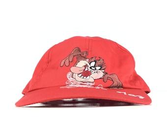 6de2393e1288cc Vintage 90s TAZ Tasmanian Devil Looney Tunes / Warner Bros Red Baseball Cap  Hat Elastic Men's Medium Size Cotton