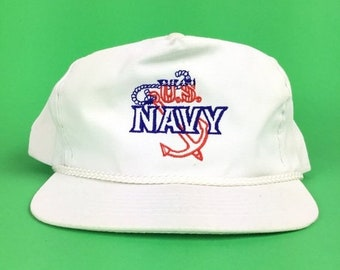 6a1d4ecfc32 On Sale Now Vintage 80s US Navy Embroidered White Baseball Cap Hat SnapBack  Sm-Med Adult Size