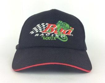 Vintage Bud Racing LOUIE Lizard Black Snapback Baseball Cap Anheuser Busch  Budweiser Beer Head Gear 451a03354cb1