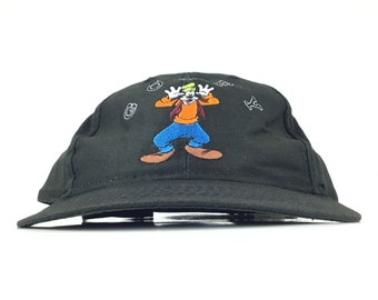 Vintage 90s Disney GOOFY Embroidered Action Figure Logo Black Baseball Cap  Hat Adj. Adult Size Cotton 222dba1fee3