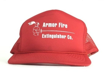 On Sale Now Vintage 90s Armor Fire Extinguisher Company Red Trucker Hat Cap  Snapback Men s Size Polyester 93e22777ec7a