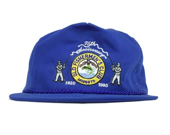 590b07f015e Vintage 90s Old Fishemen s Club Modesto California 75th Anniversary  1920-1995 Embroidered Blue Baseball Cap Hat Adjustable Adult Size