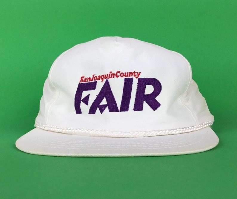 Embroidered White Baseball Cap Hat Snapback Men\u2019s Size Cotton Vintage 90s San Joaquin County Fair California
