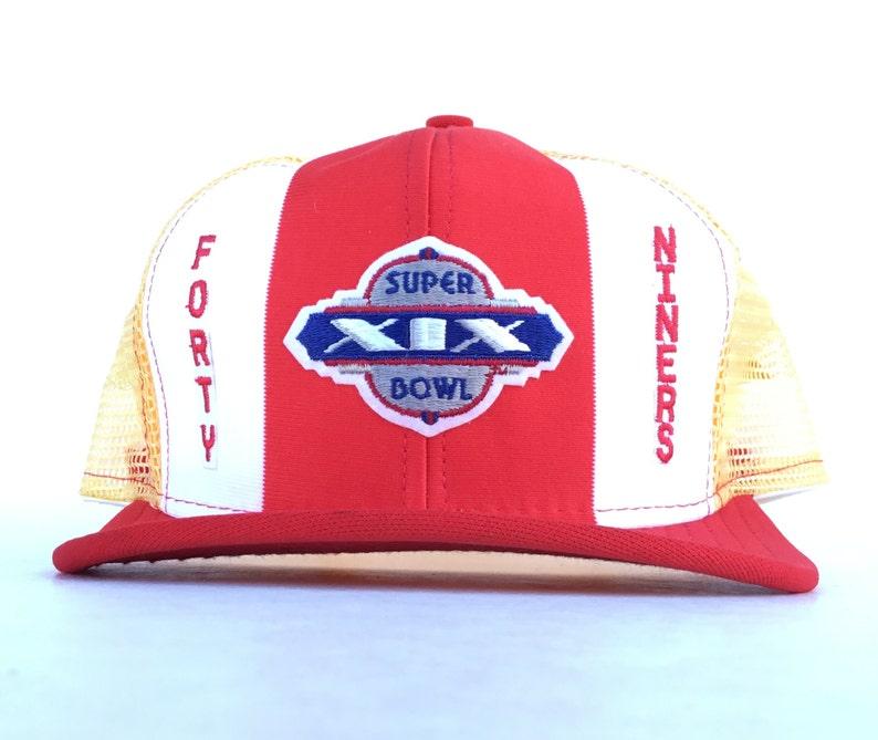 84aa4832 Vintage 80s NFL San Francisco 49ers Super Bowl XIX Champions Trucker Hat  Cap Snapback Adult Size Made In USA Nylon