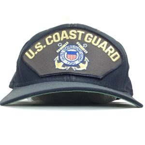 Vintage 80s Unites States US Coast Guard Front Patch Logo Baseball Cap Hat  SnapBack Adult Size Made in USA d3c00b10be9d