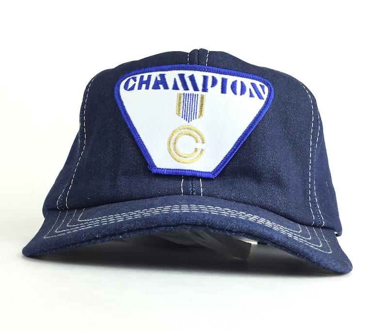 39e23f22bf4b1 Vintage 80s Champion Front Patch Logo Denim Baseball Cap Hat