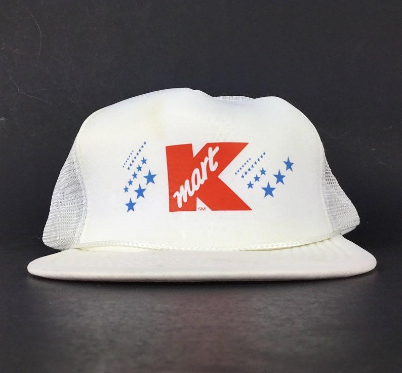c4b8e00d80e Vintage 90s Kmart K Logo White Trucker Hat Cap SnapBack Mens