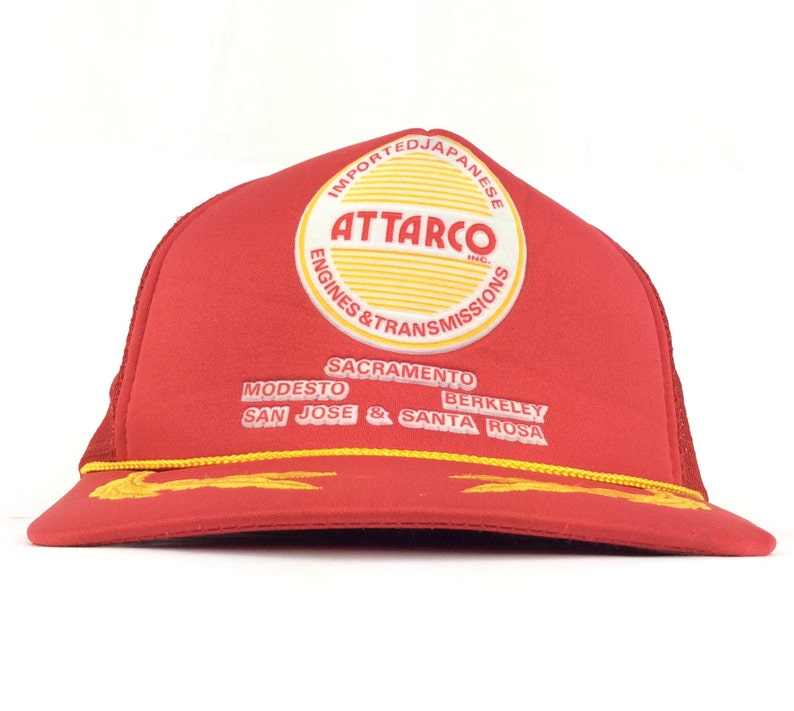 90s ATTARCO Imported Japanese Engines & Transmissions Sacramento San Jose  California Red Trucker Hat Cap Snapback Adult Size