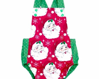 08d2589859565 Vintage Santa Sunsuit Romper Baby or Toddler Girl or Boy Christmas Outfit  Baby Shower Gift First Christmas Romper
