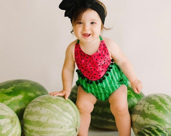 c4649de14a10 Watermelon Boho Romper Baby Girl or Toddler Girl Summer Outfit Bodysuit  Baby Girl Gift Vintage Style Romper
