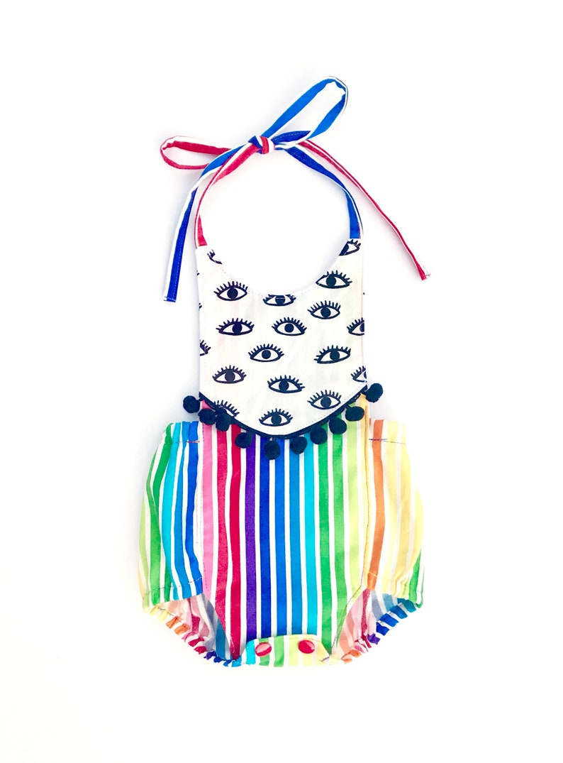 74963fbaadc9 Rainbow Eyes Boho Romper Baby Girl or Toddler Girl Outfit