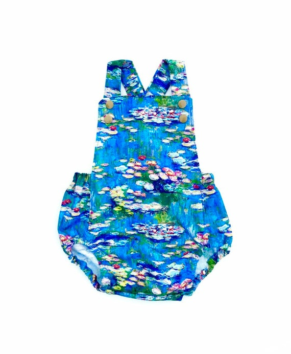 735f7a359679 Claude Monet Water Lilies Sunsuit Romper Baby or Toddler Girl